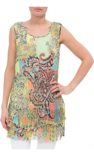 Printed Layered Pleated Tunic Khaki/Orange - Gallery Image 2