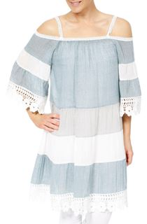 Lace Trimmed Cold Shoulder Tunic - Blue