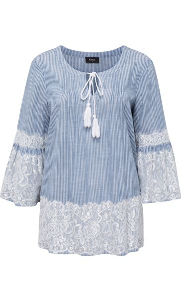 Lace Trim Bell Sleeve Stripe Cotton Top Denim/White