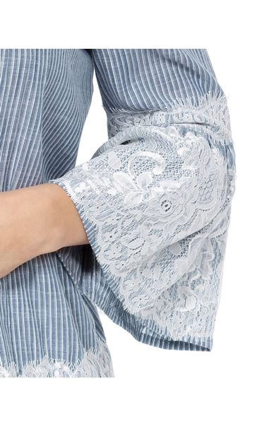 Lace Trim Bell Sleeve Stripe Cotton Top Denim/White - Gallery Image 4