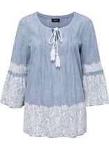 Lace Trim Bell Sleeve Stripe Cotton Top Denim/White - Gallery Image 1