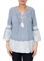 Lace Trim Bell Sleeve Stripe Cotton Top Denim/White - Gallery Image 2