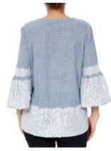 Lace Trim Bell Sleeve Stripe Cotton Top Denim/White - Gallery Image 3