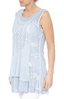 Lace Panel Layered Sleeveless Top - Green