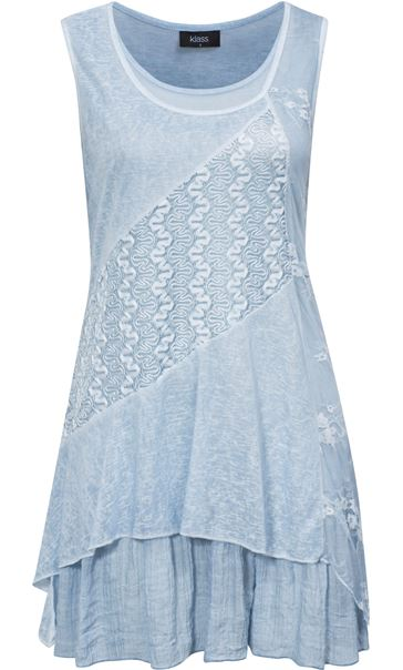 Lace Panel Layered Sleeveless Top Green