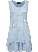 Lace Panel Layered Sleeveless Top Green - Gallery Image 1