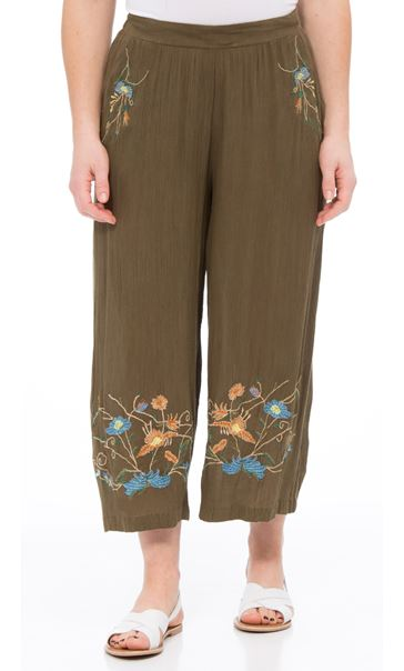 Embroidered Culottes Khaki