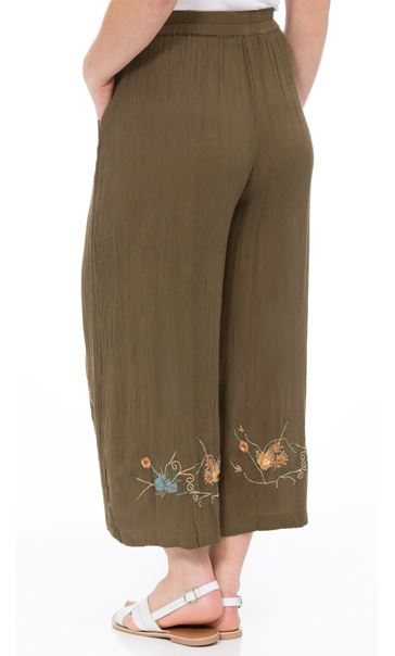 Embroidered Culottes Khaki - Gallery Image 2