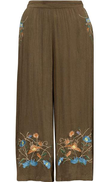 Embroidered Culottes Khaki - Gallery Image 3