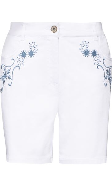 Embroidered Shorts White