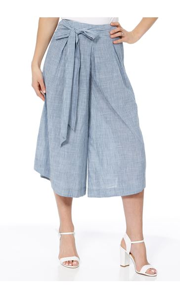 Striped Pull On Cotton Culottes Denim/White - Gallery Image 1