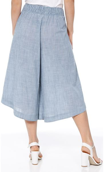 Striped Pull On Cotton Culottes Denim/White - Gallery Image 2