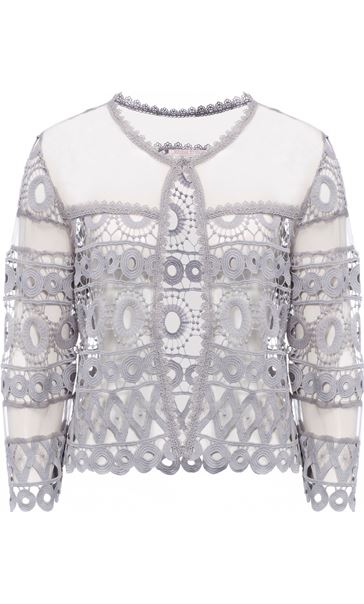 Anna Rose Crochet And Lace Cover Up Silver Grey