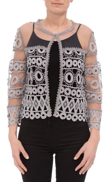 Anna Rose Crochet And Lace Cover Up Silver Grey - Gallery Image 2