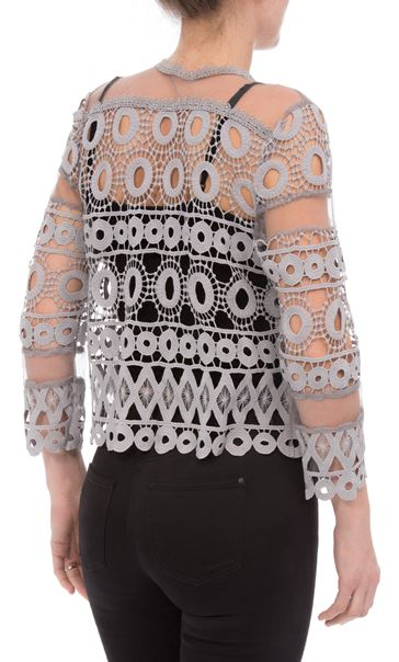 Anna Rose Crochet And Lace Cover Up Silver Grey - Gallery Image 3