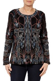 Long Sleeve Embroidered Mesh Jacket
