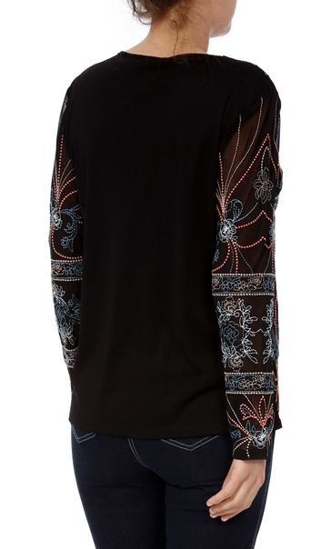 Long Sleeve Embroidered Mesh Jacket Black - Gallery Image 3
