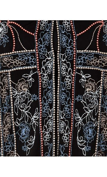 Long Sleeve Embroidered Mesh Jacket Black - Gallery Image 4