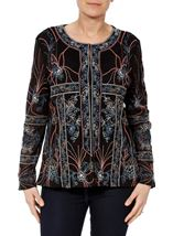 Long Sleeve Embroidered Mesh Jacket Black - Gallery Image 2