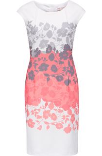 Anna Rose Placement Print Ottoman Midi Dress - Ivory/Coral