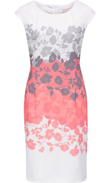 Anna Rose Placement Print Ottoman Midi Dress Ivory/Coral