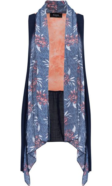 Sleeveless Panelled Open Cover Up Multi Airforce