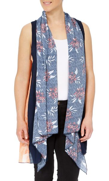 Sleeveless Panelled Open Cover Up Multi Airforce - Gallery Image 2