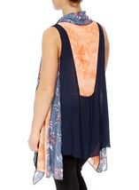 Sleeveless Panelled Open Cover Up Multi Airforce - Gallery Image 3