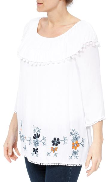 Embroidered Crinkle Top White - Gallery Image 2