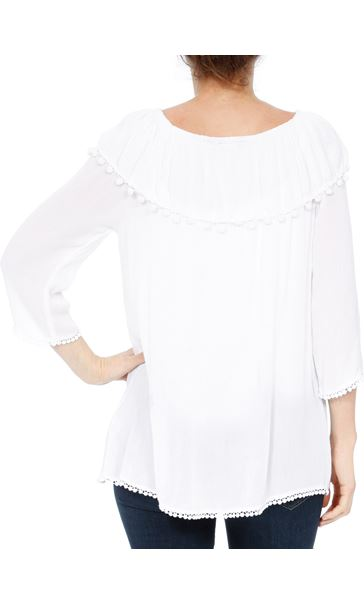 Embroidered Crinkle Top White - Gallery Image 3
