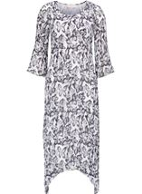 Anna Rose Pleated Butterfly Print Midi Dress Silver Grey/Ivory - Gallery Image 2