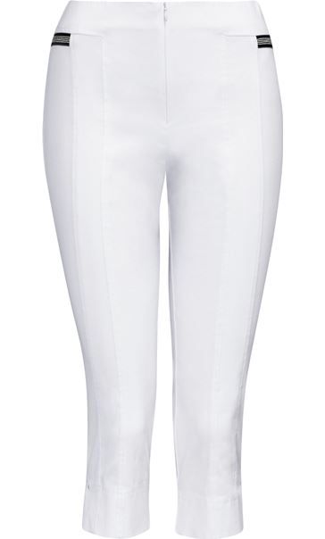 Cropped Stretch Slim Trousers White