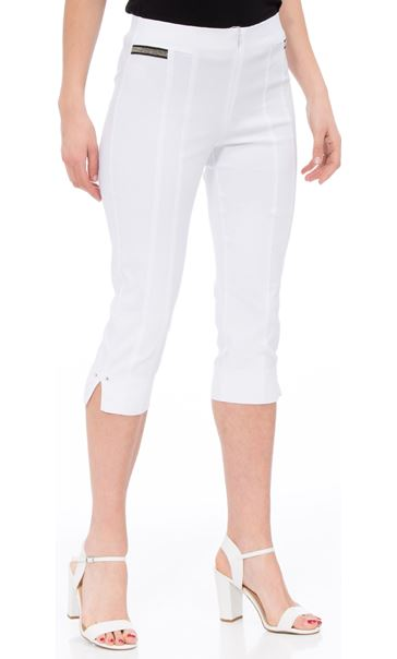 Cropped Stretch Slim Trousers White - Gallery Image 2