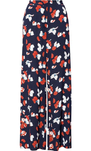 Wide Leg Printed Pull On Trousers Navy/Rust