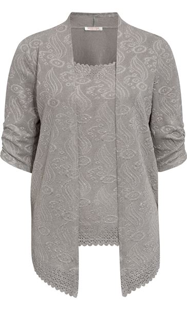 Anna Rose Moc Two Piece Top Set Silver Grey