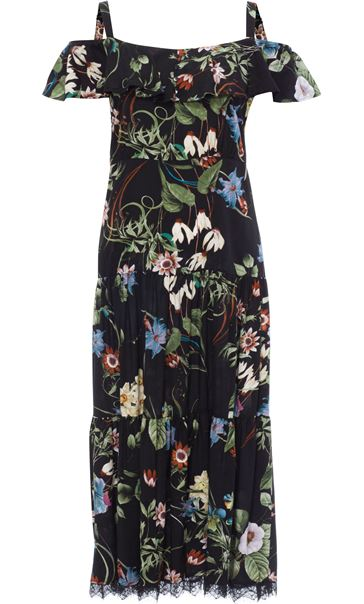 Cold Shoulder Floral Printed Midi Dress Black/Multi