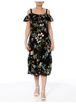 Cold Shoulder Floral Printed Midi Dress Black/Multi - Gallery Image 2