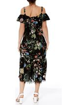 Cold Shoulder Floral Printed Midi Dress Black/Multi - Gallery Image 3