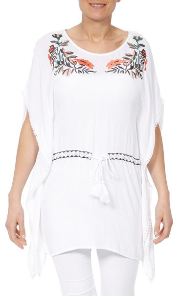 Embroidered Crinkle Cover Up White