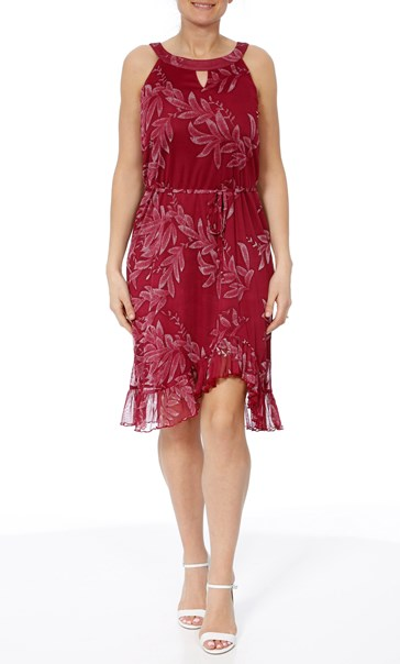Printed Sleeveless Midi Dress Berry - Gallery Image 2