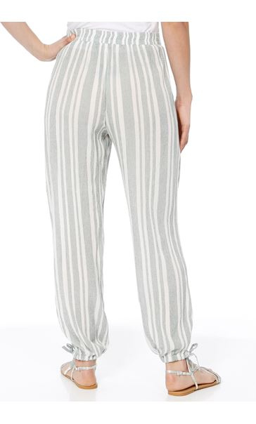 Striped Tie Cuff Pull On Trousers Sage/Beige - Gallery Image 2