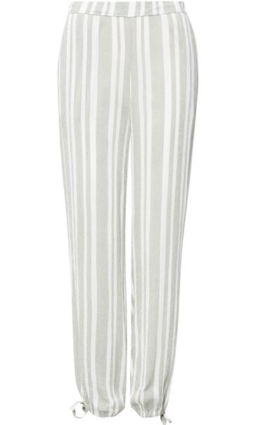 Striped Tie Cuff Pull On Trousers Sage/Beige - Gallery Image 3