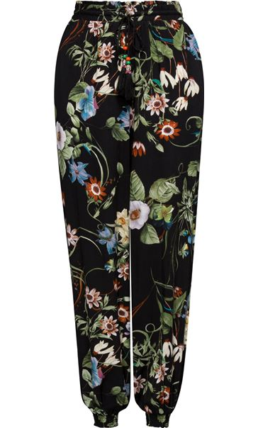 Floral Print Elasticated Cuff Pull On Trousers Black/Multi