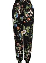 Floral Print Elasticated Cuff Pull On Trousers Black/Multi - Gallery Image 1