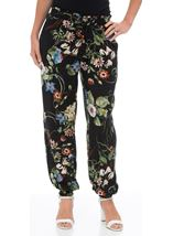 Floral Print Elasticated Cuff Pull On Trousers Black/Multi - Gallery Image 2