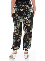 Floral Print Elasticated Cuff Pull On Trousers Black/Multi - Gallery Image 3