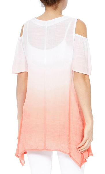 Cold Shoulder Ombre Crinkle Tunic White/Papaya - Gallery Image 2