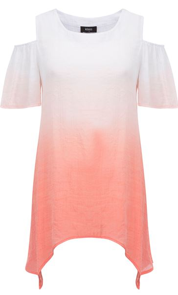 Cold Shoulder Ombre Crinkle Tunic White/Papaya - Gallery Image 3