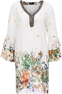Floral Border Printed Long Sleeve Tunic