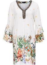 Floral Border Printed Long Sleeve Tunic Cream Multi - Gallery Image 1